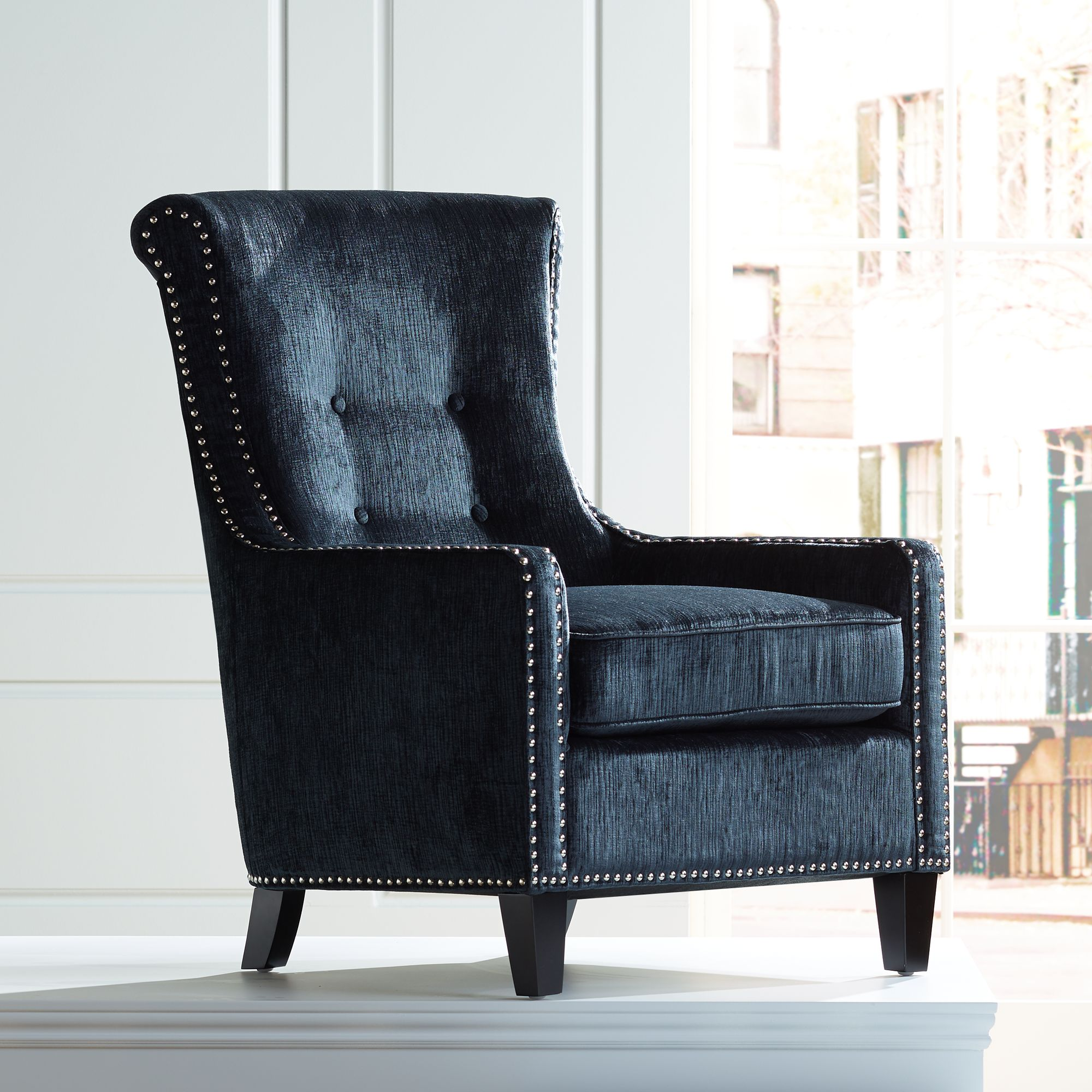 Chantelle Heather Dark Blue Accent Chair