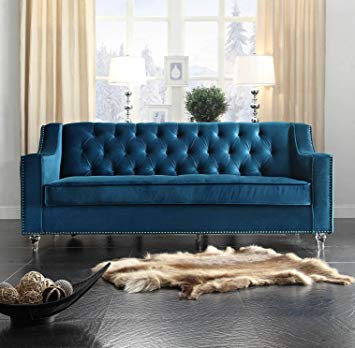 Traveller Location: Iconic Home Dylan Modern Tufted Navy Blue Velvet Sofa with  Silver Nail Head Trim & Round Acrylic Feet: Kitchen & Dining