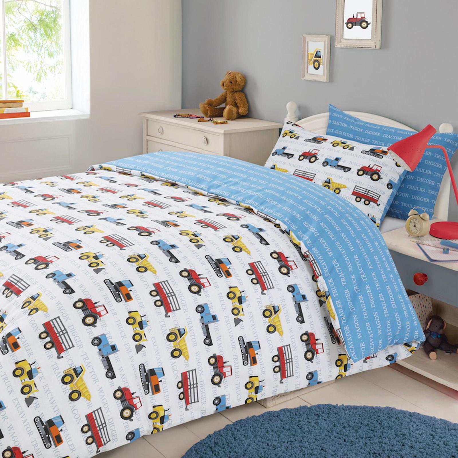 Dreamscene Transport Duvet Cover with Pillow Case Blue Kids Car Boys  Bedding Set