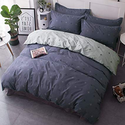 CLOTHKNOW Boys Bedding Sets Full, Dusty Blue Duvet Cover Sets Queen Cross  Pattern, 1