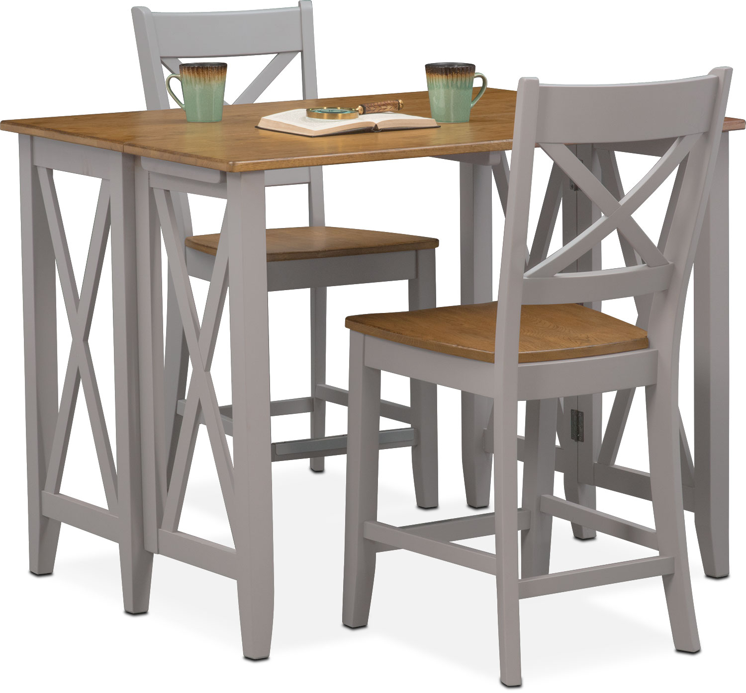 Dining Room Furniture - Nantucket Breakfast Bar and 2 Counter-Height Side  Chairs - Oak