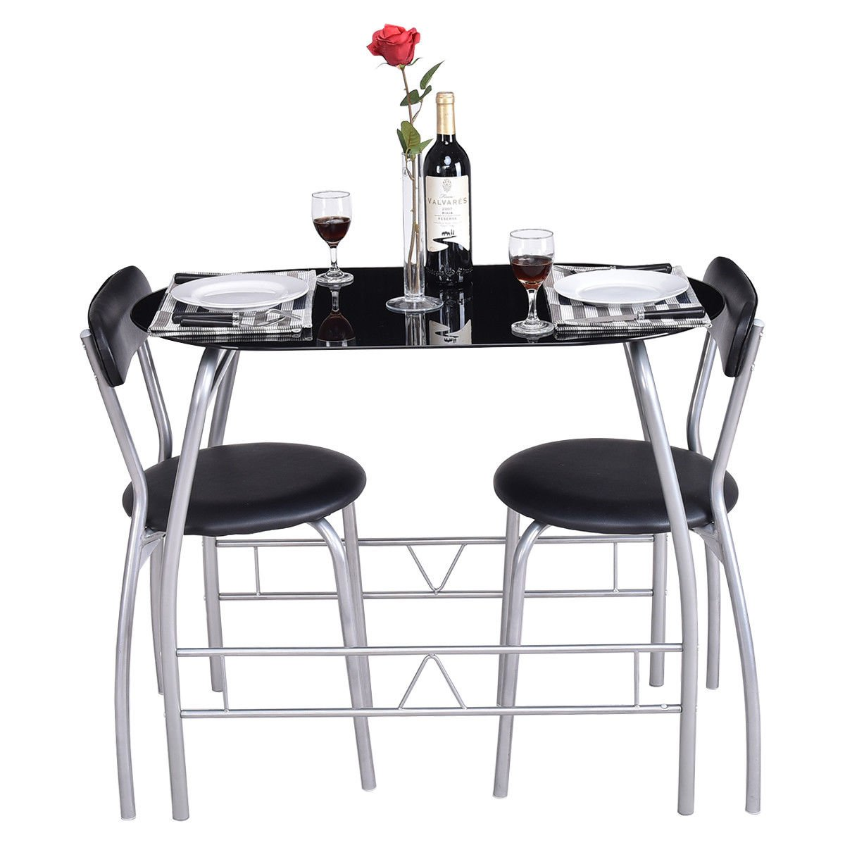 Traveller Location - Giantex 3 Piece Bistro Dining Set with Breakfast Chairs,  Tempered Glass Table Top Furniture - Table & Chair Sets