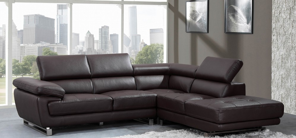 Valencia Espresso Brown Leather Corner Sofa Right Hand Facing