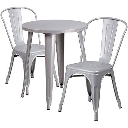 Amazon.com: Flash Furniture 24'' Round Silver Metal Indoor-Outdoor