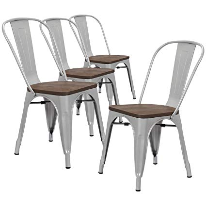 Amazon.com - LCH Industrial Metal Wood Top Stackable Dining Chairs