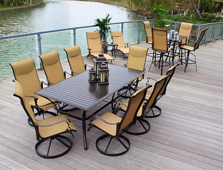 Traveller Location: 10pc Cast Aluminum Patio Furniture Set with Cover - Bronze:  Garden & Outdoor
