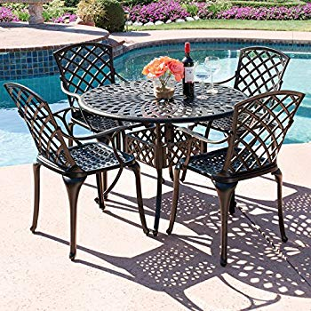 Best Choice Products 5-Piece Cast Aluminum Patio Dining Set w/ 4 Chairs,