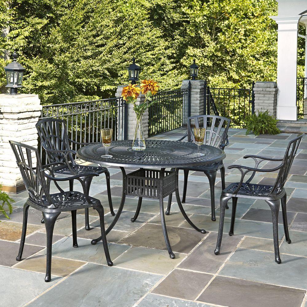 Cast Aluminum Charcoal Outdoor 5-Piece Patio Dining Set