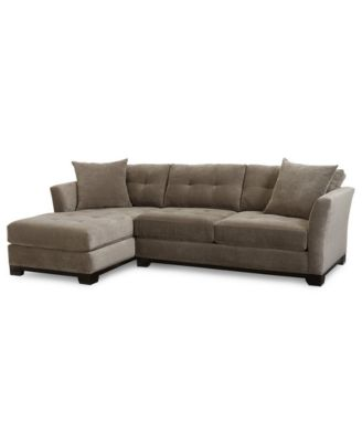Elliot Fabric Microfiber 2-Pc. Chaise Sectional Sofa, Created for