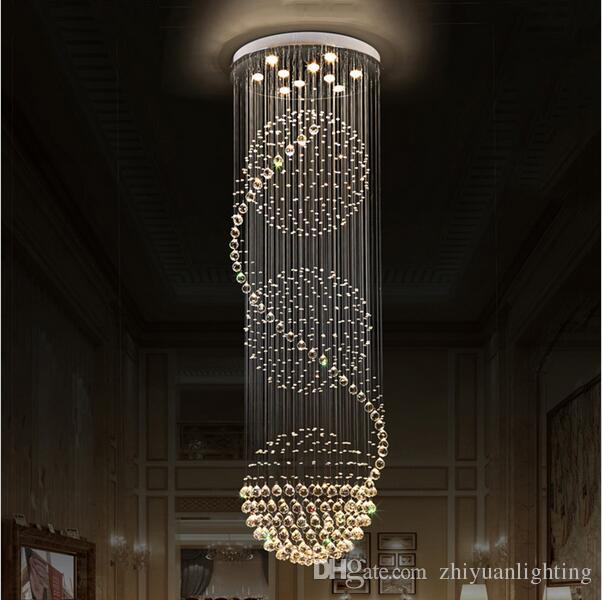 LED Crystal Chandeliers Lights Stairs Hanging Light Lamp Indoor Lighting  Decoration With D70CM H200CM Chandelier Light Fixtures Chandelier For  Dining Room