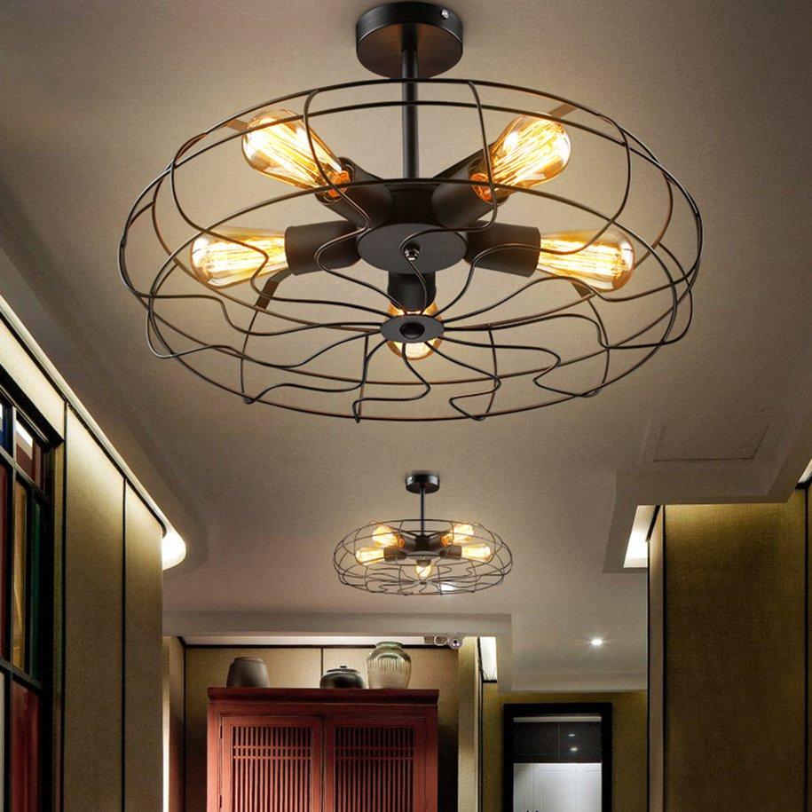 Industrial Vintage Metal Hanging Ceiling Chandelier Lighting w/ 5 Lights  -Black - Traveller Location