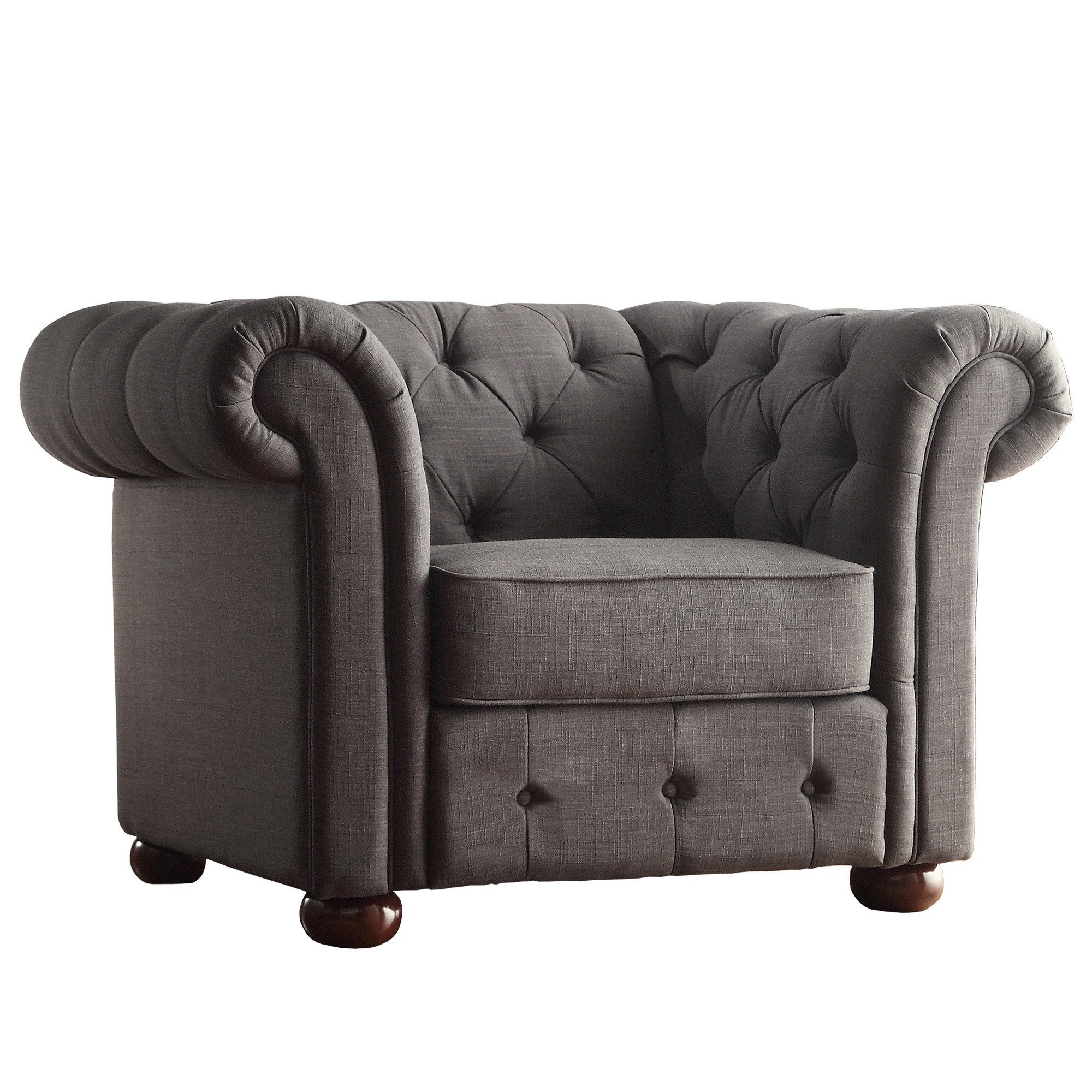 Shop Knightsbridge Linen Tufted Scroll Arm Chesterfield Chair by iNSPIRE Q  Artisan - On Sale - Free Shipping Today - Overstock - 9242321