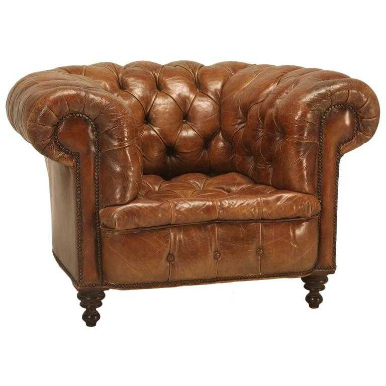 Antique Chesterfield Chair in Original Leather For Sale