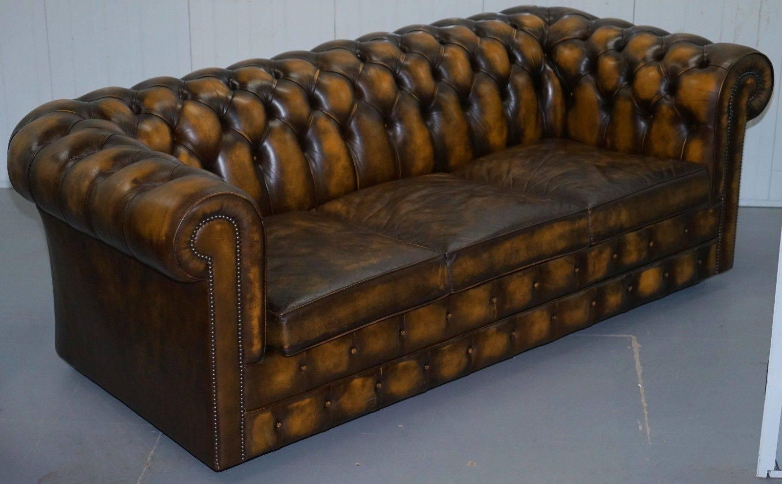 We are delighted to offer for sale this substantial Mill Brook Furnishings  hand dyed aged brown