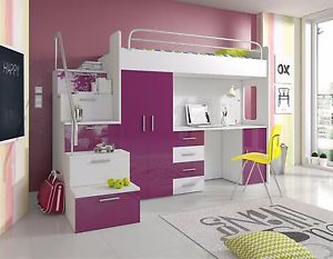 Children S Bedroom Furniture CHILDRENS BEDROOM FURNITURE SET KIDS BUNK BED  WITH MATTRESS STAIRS