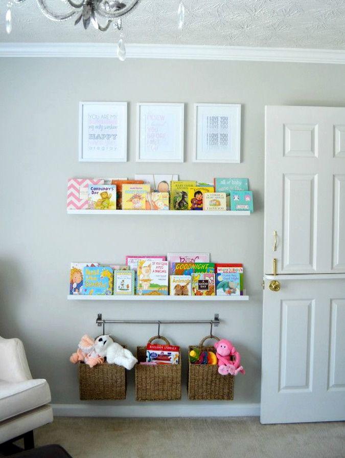 Clever Nursery Organization Ideas Bookshelf Wall
