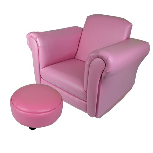 KIDS ROCKING CHAIR SOFA SET FOOT REST CHILDRENS ARMCHAIR RELAX PINK SEAT  LEATHER NEW: Traveller Location.uk: Kitchen & Home