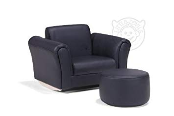LazyBones BLACK PU LEATHER ROCKING Chair Armchair Kids Childrens with FREE  Footstool (BICAST LEATHER)
