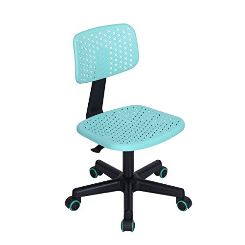 HOMY CASA Hollow Armless Swivel Office Computer Desk Chair Kids Study Chair  PU Colorful Wheels,
