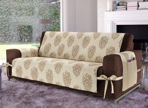 creative DIY sofa cover ideas beige cover brown sofa with ties