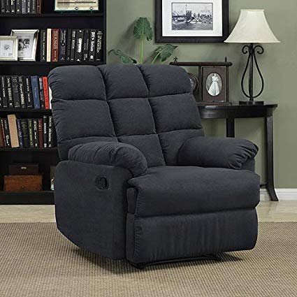Prolounger Wall Hugger Microfiber Biscuit Back Recliner - Gray - Living  Room Furniture - Comfortable Chair