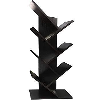 WSTECHCO Bookcases and Book Shelves 7 Shelf Tree Bookshelf MDF Black Small  Book Shelves Wood Compact