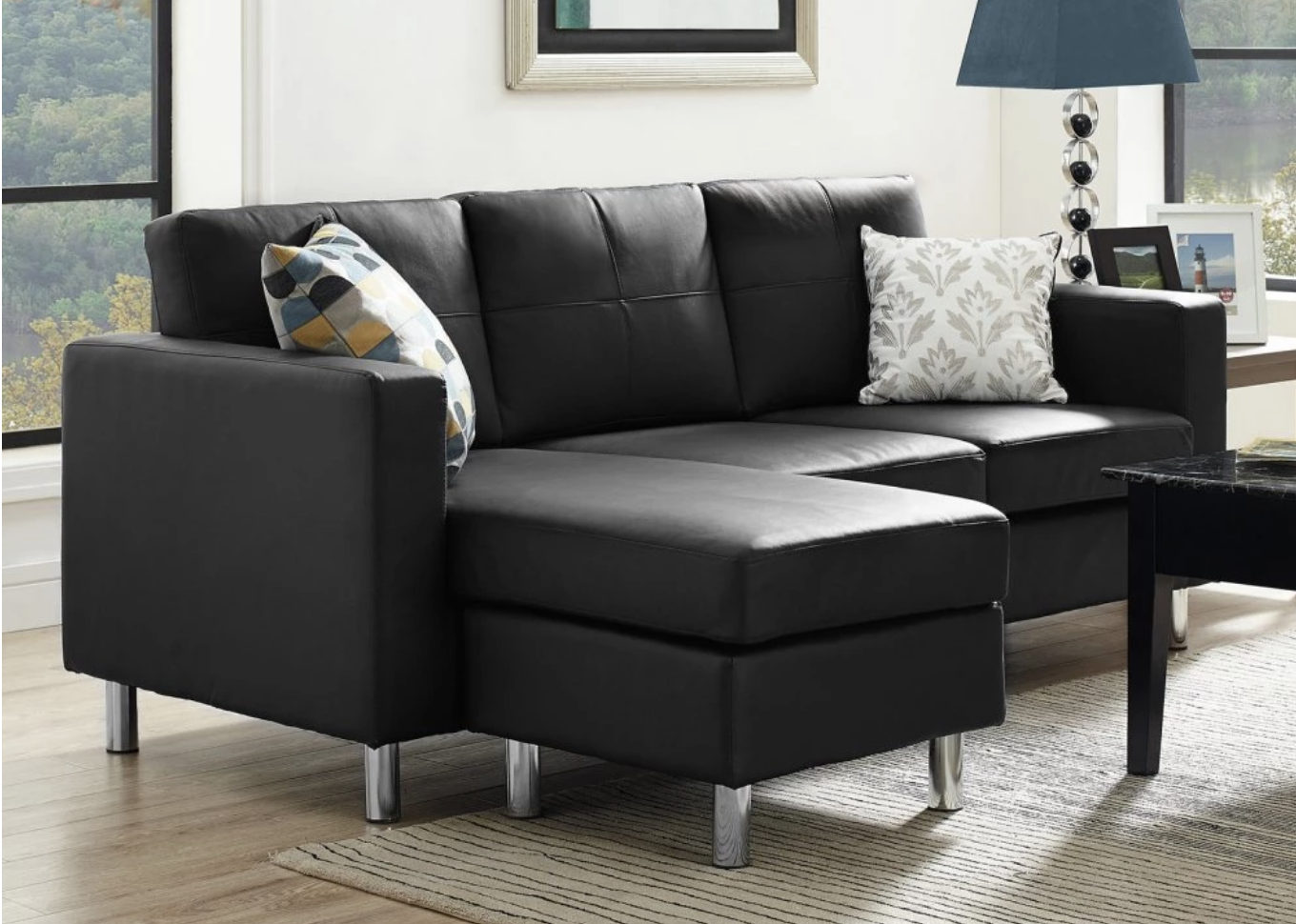 Space saving black sectional sofa for small spaces