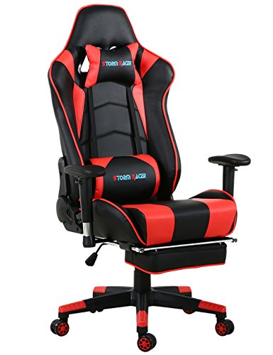 Big Gaming Chair Ergonomic Racing Computer Chair with Footrest,Red/Black by  Storm Racer