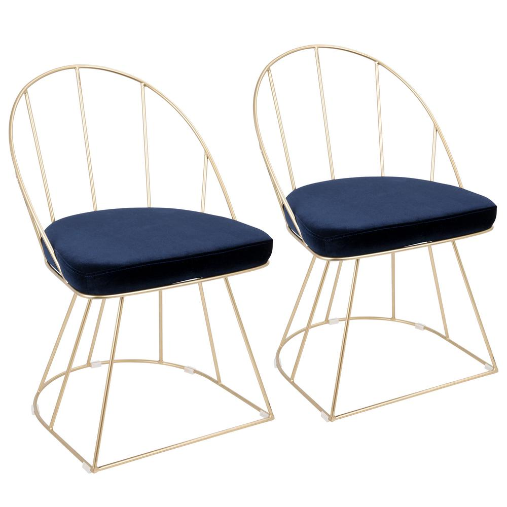 Lumisource Canary Contemporary Dining/Accent Gold and Blue Chair Velvet (Set  of 2)