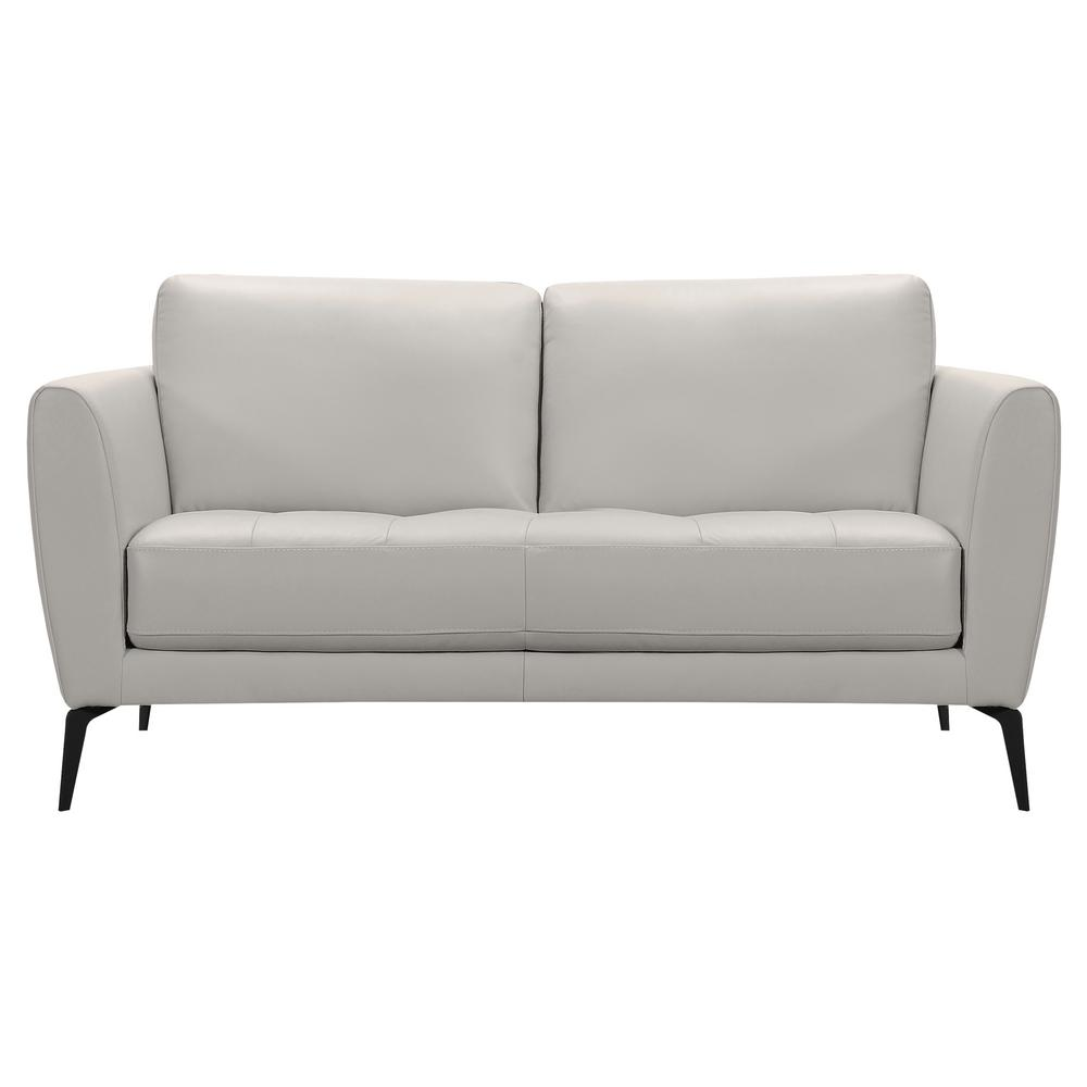Armen Living Armen Living Hope Genuine Dove Grey Leather Contemporary  Loveseat with Black Metal Legs