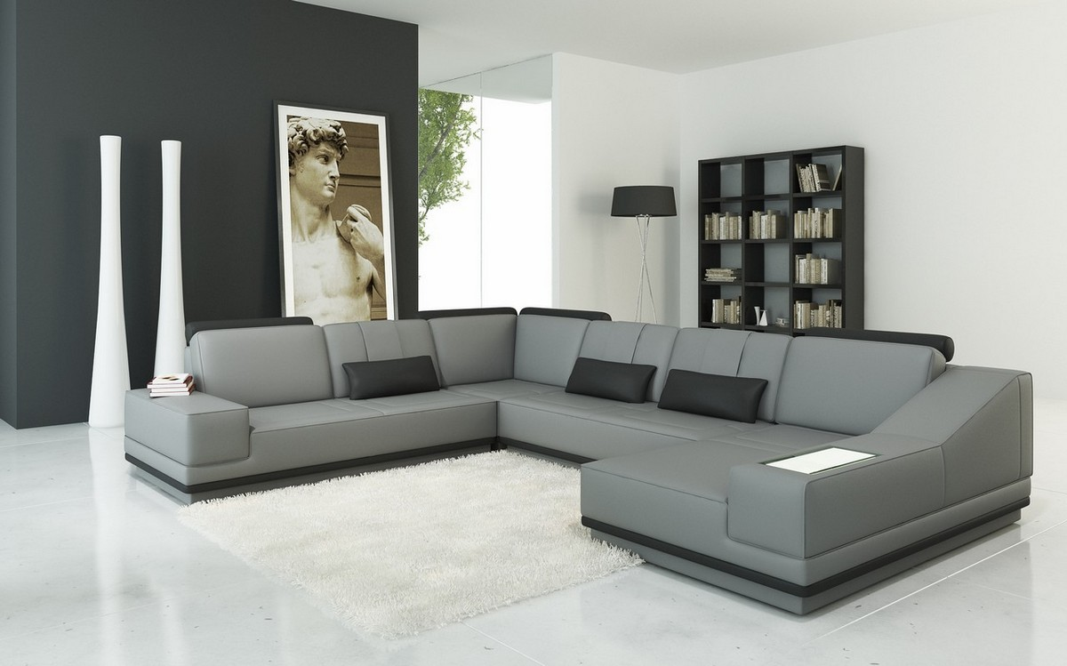 Grey Leather Sectional Color