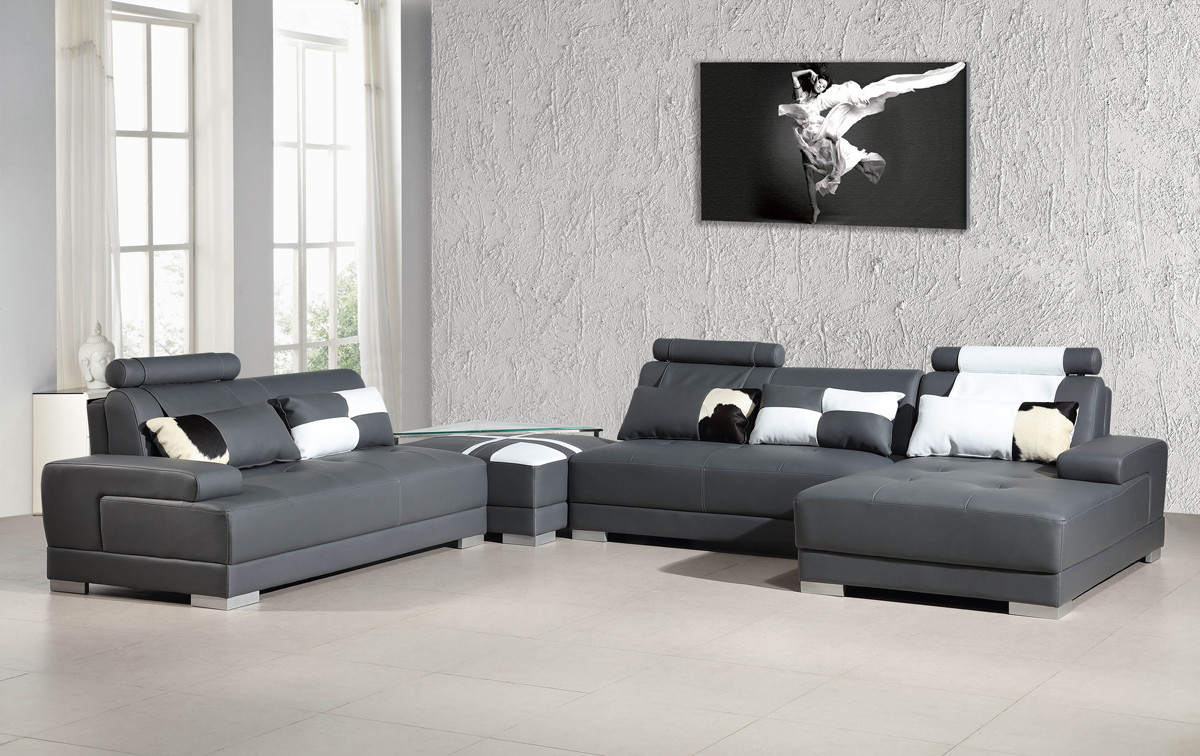 Your bookmark products. Phantom Contemporary Grey Leather Sectional Sofa