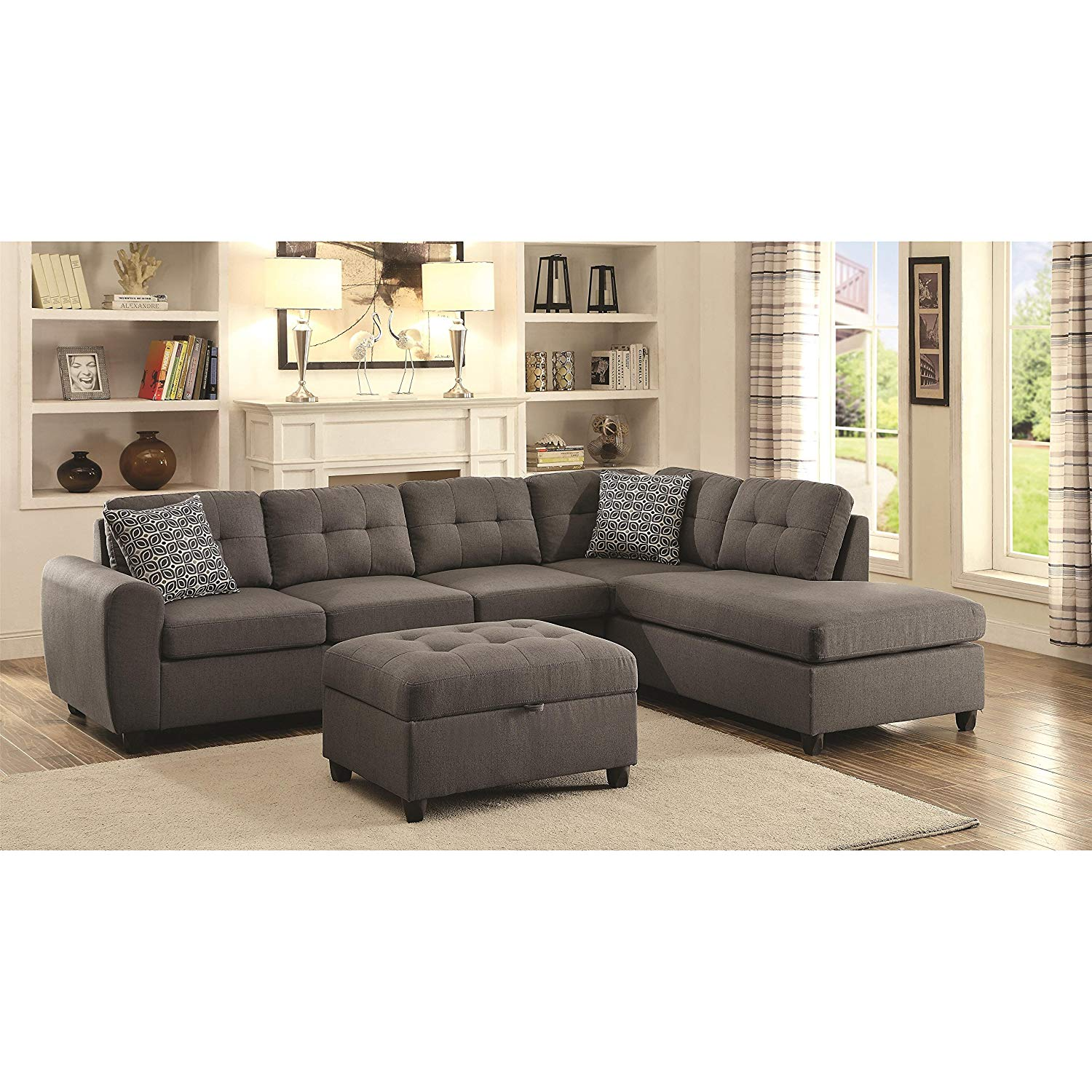 Traveller Location: Coaster Home Furnishings 500413 Living Room Sectional Sofa Grey:  Kitchen & Dining