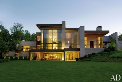 At a Nashville home multiple terraces reach out to the landscape.