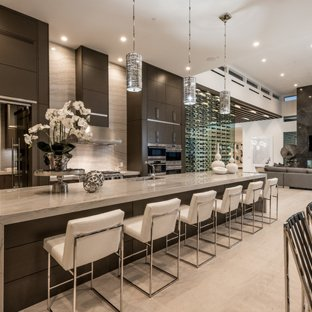 Large contemporary open concept kitchen designs - Open concept kitchen -  large contemporary galley beige floor