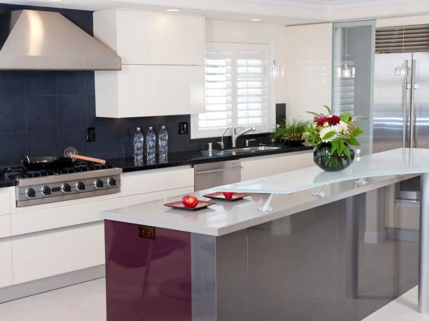 Modern Kitchen With Black Tile Backsplash