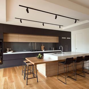 Mid-sized modern kitchen appliance - Kitchen - mid-sized modern galley  medium tone