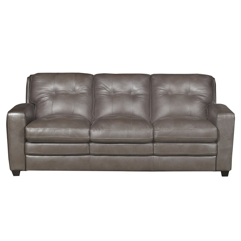 Modern Contemporary Bronze Leather Sofa - Roland | RC Willey Furniture Store