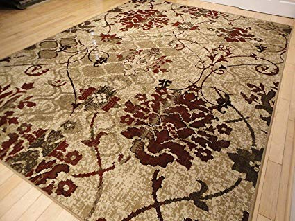 Amazon.com: Modern Burgundy Rugs Living Dining Room Red Cream Beige