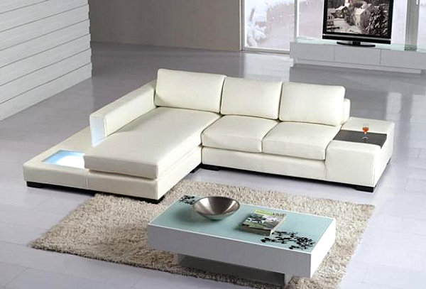 View in gallery A white modern leather sectional sofa
