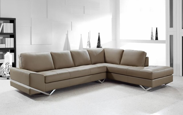 Contemporary Sectional Sofa in Latte Leather modern-living-room