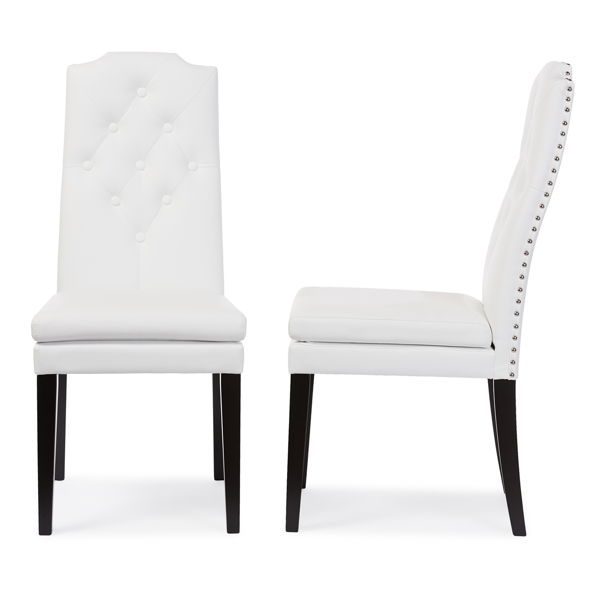 Baxton Studio Dylin Modern and Contemporary White Faux Leather  Button-Tufted Nail heads Trim Dining Chair