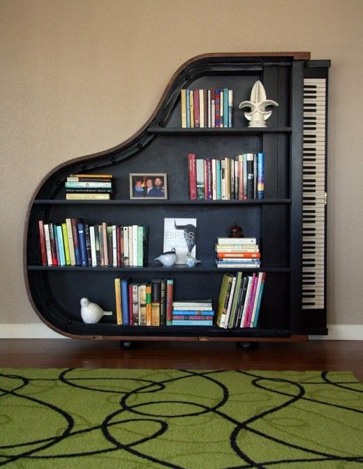 Piano & books. Could there be a better combination?? Love this! Now i just  need a big enough wall to hang it on.