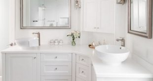 Corner Bathroom Vanity Design. #Cornervanity #CornerBathroomVanity Stephani  Buchman Photography