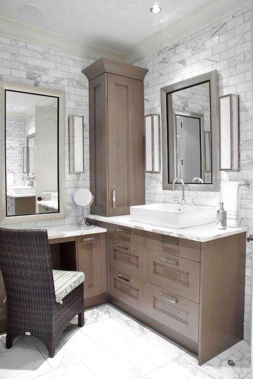 Design Galleria: Custom sink vanity built into corner of bathroom. Lower  make up area with silver leafed    luxury modern bathrooms   Pinterest