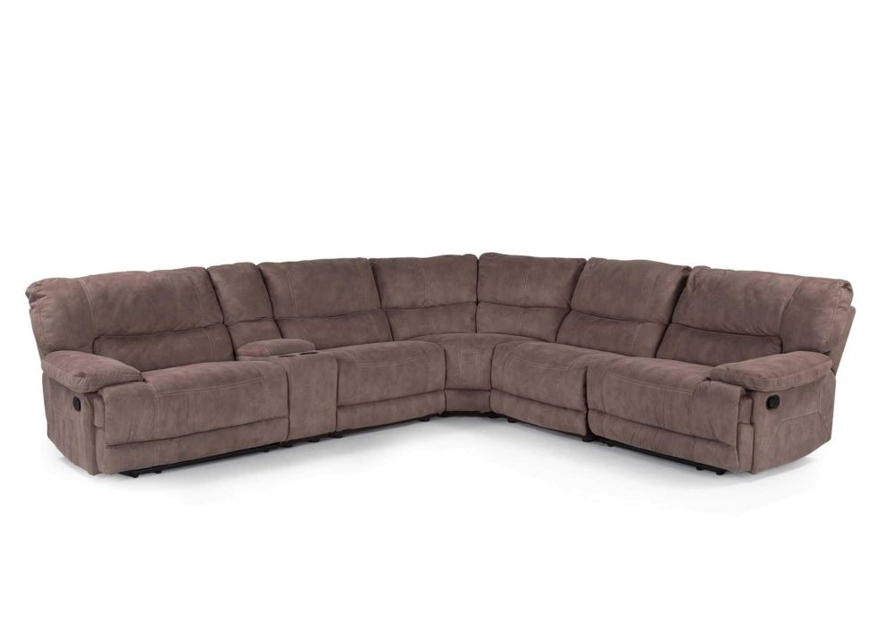 View from front of the taupe large Baxter corner reclining sofa