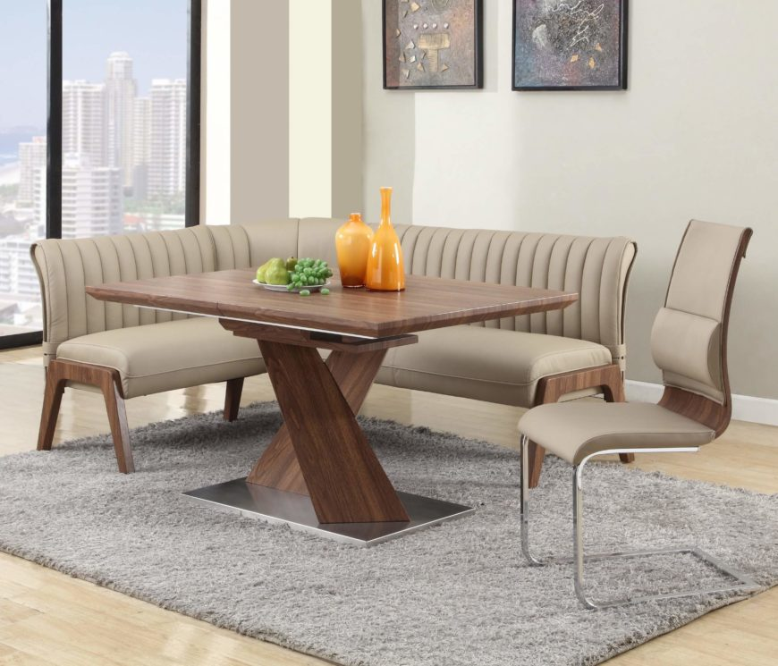This relatively compact corner dining set combines rich hardwood  construction and walnut finish with sleekly cushioned
