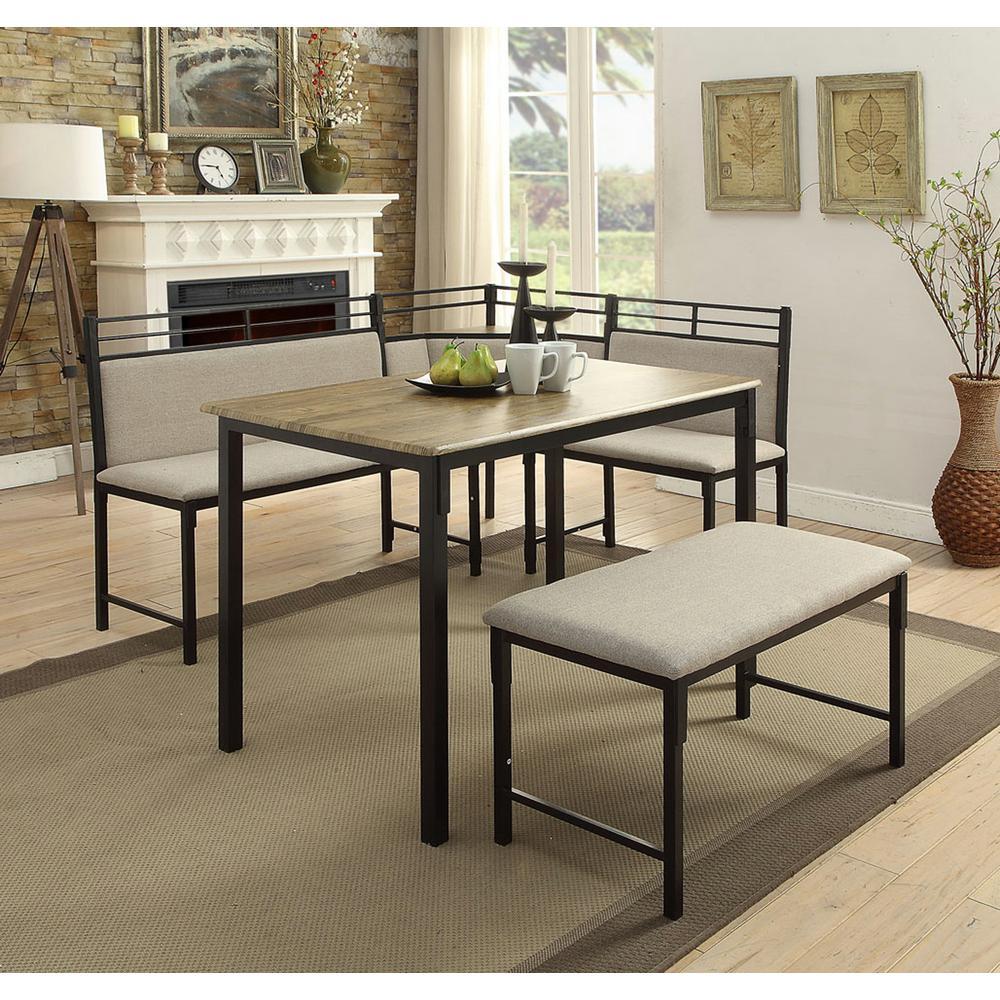 4D Concepts Boltzero 3-Piece Black and Tan Corner Dining Nook Set-159369 -  The Home Depot