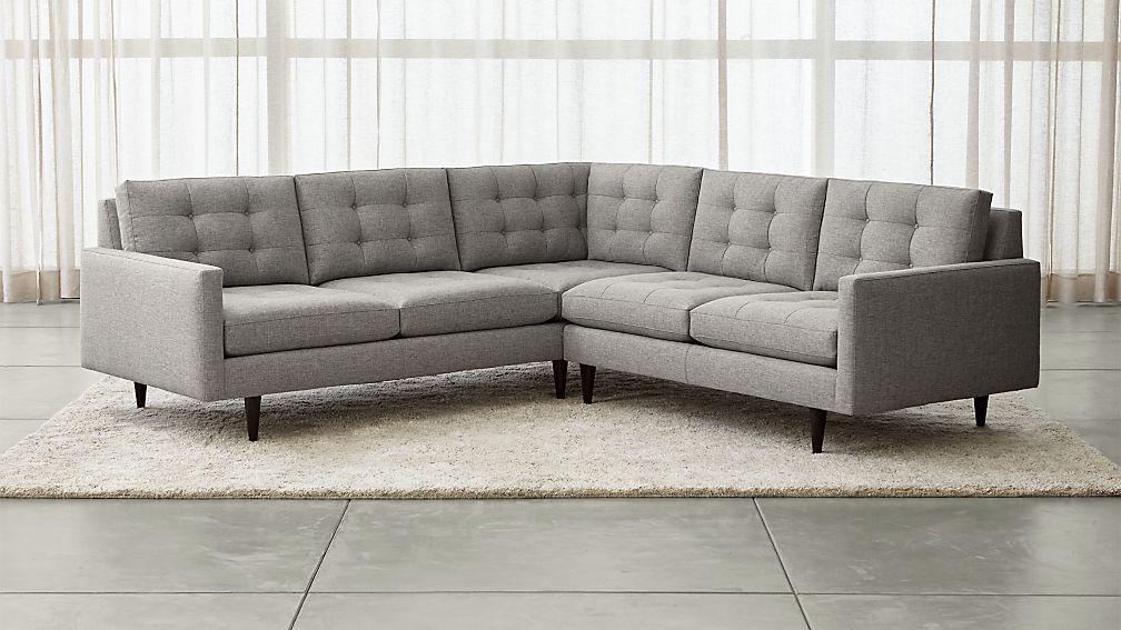 Petrie 2-Piece Corner Midcentury Sectional Sofa + Reviews | Crate and Barrel