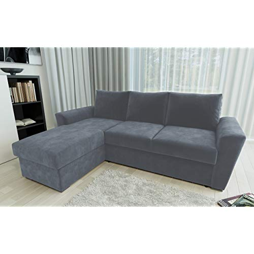 Direct Furniture Chenille Stanford L-Shape Left/Right Sofa Bed with  Internal Storage Corner